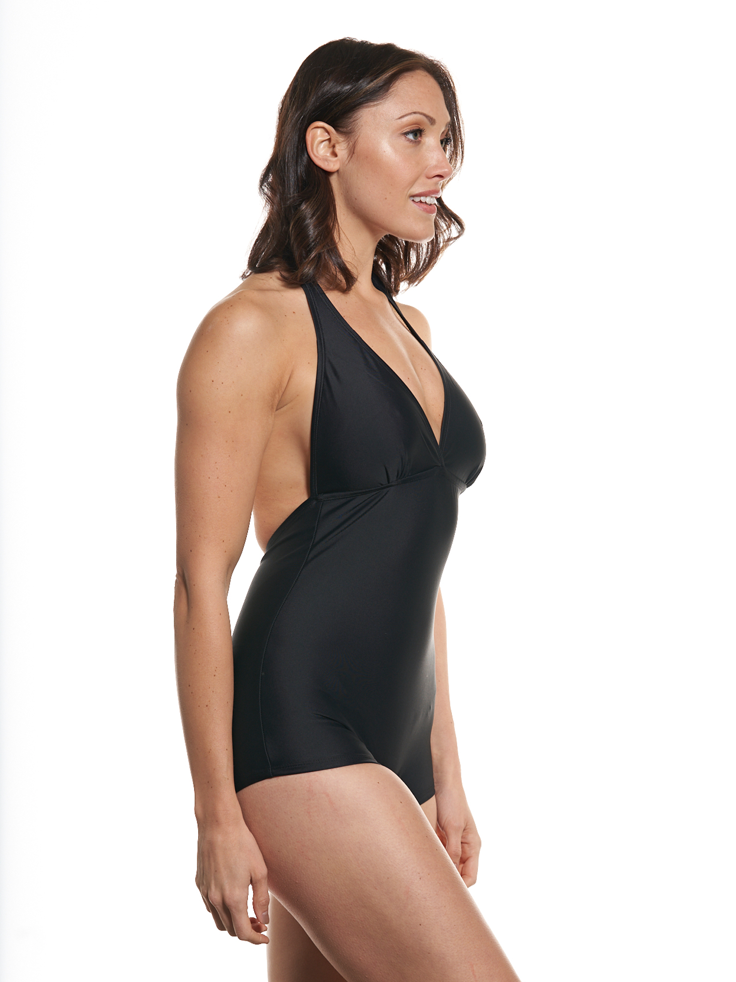 b13b76bf0cacc Black One Piece Bathing Suit With Skirted Bottom