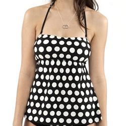 Babydoll Tankini Bathing Suit | Penelope | Large Cream Dot