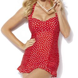 Jantzen Swimwear Vamp Bathing Suit | Red White Polka Dot