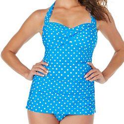 Jantzen Swimwear Bathing Suit | Twist Front Swimdress | Bright Sky Polka Dot